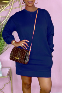 Royal Blue Casual Solid Split Joint O Neck Straight Dresses