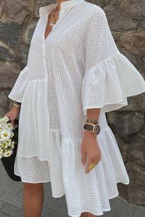 White Sweet Solid Flounce Mandarin Collar Shirt Dress Dresses