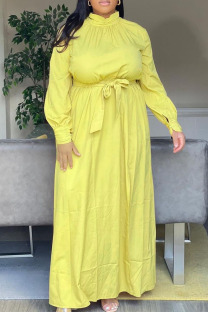 Yellow Casual Solid Split Joint Slit Turtleneck Straight Plus Size Dresses