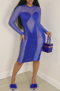 Blue Fashion Sexy Patchwork See-through O Neck Long Sleeve Dresses