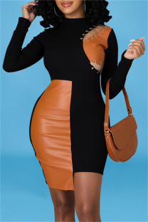 Black Fashion Sexy Patchwork Hollowed Out Asymmetrical O Neck Long Sleeve Dresses