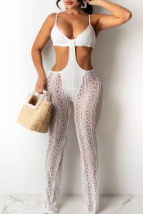 White Sexy Solid Hollowed Out Split Joint Spaghetti Strap Boot Cut Jumpsuits