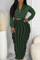 Olive Green Sexy Casual Patchwork Tassel V Neck Long Sleeve Two Pieces