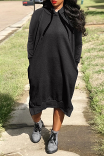 Black Casual Solid Split Joint Hooded Collar Straight Dresses