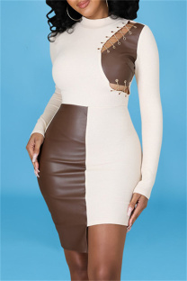 White Fashion Sexy Patchwork Hollowed Out Asymmetrical O Neck Long Sleeve Dresses