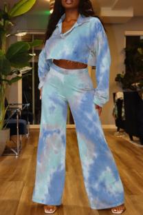 Blue Fashion Casual Tie Dye Printing Turndown Collar Long Sleeve Two Pieces