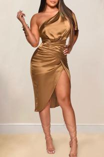 Brownness Sexy Solid Split Joint Asymmetrical Oblique Collar Irregular Dress Dresses