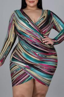 Colour Sexy Print Split Joint Asymmetrical V Neck A Line Plus Size Dresses