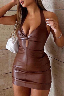 Brown Fashion Sexy Solid Backless Halter Sleeveless Dress