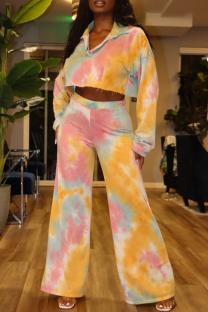 Lemon Yellow Fashion Casual Tie Dye Printing Turndown Collar Long Sleeve Two Pieces