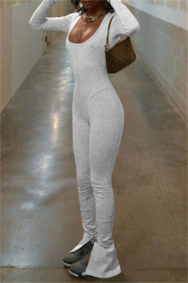 Grey Sexy Casual Solid Backless Slit U Neck Skinny Jumpsuits