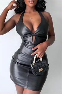 Black Fashion Sexy Solid Backless Halter Sleeveless Dress