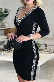 Black Casual Print Split Joint V Neck Pencil Skirt Dresses