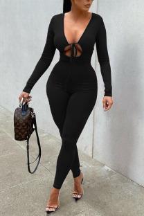 Black Sexy Solid Hollowed Out Split Joint Frenulum V Neck Regular Jumpsuits