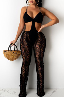 Black Sexy Solid Hollowed Out Split Joint Spaghetti Strap Boot Cut Jumpsuits