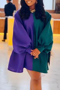 Multicolor Fashion Solid Split Joint O Neck A Line Dresses