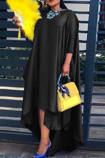 Black Fashion Casual Solid Asymmetrical O Neck Long Sleeve Plus Size Dresses