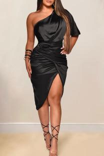Black Sexy Solid Split Joint Asymmetrical Oblique Collar Irregular Dress Dresses