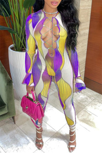 Yellow Sexy Casual Print Bandage Hollowed Out O Neck Jumpsuits
