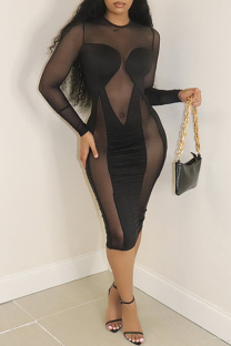 Black Fashion Sexy Patchwork See-through O Neck Long Sleeve Dresses