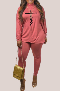 Pink Fashion Casual Print Basic Turtleneck Long Sleeve Two Pieces