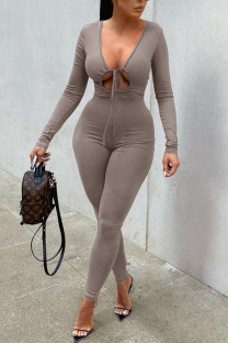 Grey Sexy Solid Hollowed Out Split Joint Frenulum V Neck Regular Jumpsuits