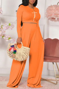 Orange Casual Print Split Joint O Neck Long Sleeve Two Pieces