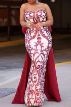 Red Fashion Sexy Patchwork Sequins Backless Slit Strapless Evening Dress