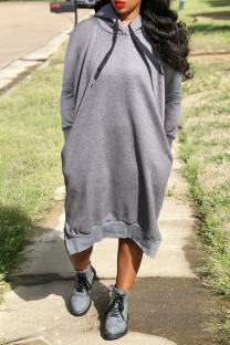 Grey Casual Solid Split Joint Hooded Collar Straight Dresses