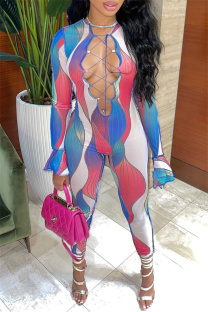 Red Sexy Casual Print Bandage Hollowed Out O Neck Jumpsuits