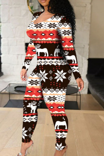 Multi-color Sexy Print Hollowed Out Split Joint Frenulum O Neck Regular Jumpsuits
