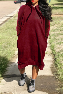 Burgundy Casual Solid Split Joint Hooded Collar Straight Dresses
