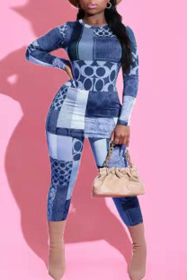 Blue Casual Print Split Joint O Neck Long Sleeve Two Pieces