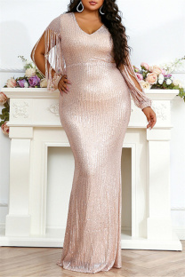 Rose Gold Fashion Sexy Plus Size Solid Sequins V Neck Evening Dress