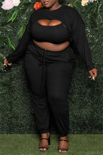 Black Sexy Casual Solid Hollowed Out O Neck Plus Size Three-piece Set