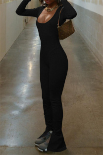 Black Sexy Casual Solid Backless Slit U Neck Skinny Jumpsuits