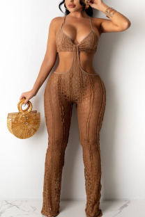 Khaki Sexy Solid Hollowed Out Split Joint Spaghetti Strap Boot Cut Jumpsuits
