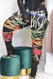 Yellow Fashion Sweet Adult Patchwork Draw String Pants Loose Bottoms