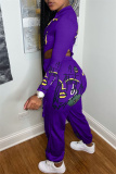 Purple Fashion Casual Print Hollowed Out Zipper Collar Long Sleeve Two Pieces