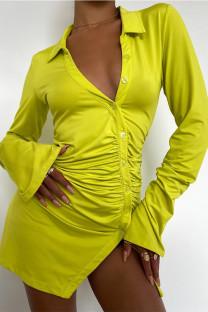 Yellow Fashion Sexy Solid Fold Turndown Collar Long Sleeve Dresses