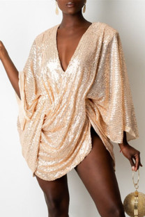 Champagne Fashion Sexy Patchwork Sequins V Neck Long Sleeve Dresses