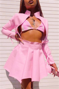 Pink Fashion Sexy Solid Split Joint Cardigan Zipper Collar Long Sleeve Two Pieces