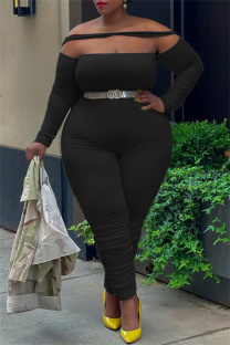 Black Sexy Casual Solid Split Joint Backless Off the Shoulder Plus Size Jumpsuits