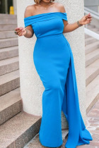 Blue Elegant Solid Split Joint Asymmetrical Off the Shoulder Evening Dress Dresses