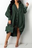 Grey Fashion Casual Patchwork Basic Turndown Collar Long Sleeve Dresses