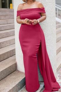 Red Elegant Solid Split Joint Asymmetrical Off the Shoulder Evening Dress Dresses