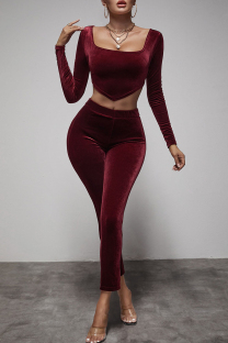 Red Fashion Casual Solid Asymmetrical Square Collar Long Sleeve Two Pieces