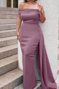 Pink Purple Elegant Solid Split Joint Asymmetrical Off the Shoulder Evening Dress Dresses