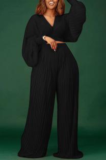 Black Elegant Solid Split Joint V Neck Long Sleeve Two Pieces