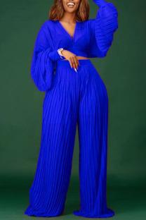 Blue Elegant Solid Split Joint V Neck Long Sleeve Two Pieces